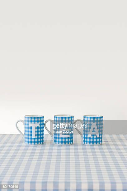 Schriftliche auf Tassen Tee