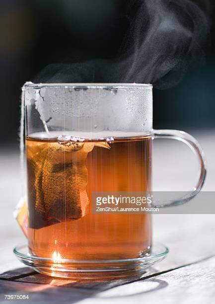Teabag steeping in mug