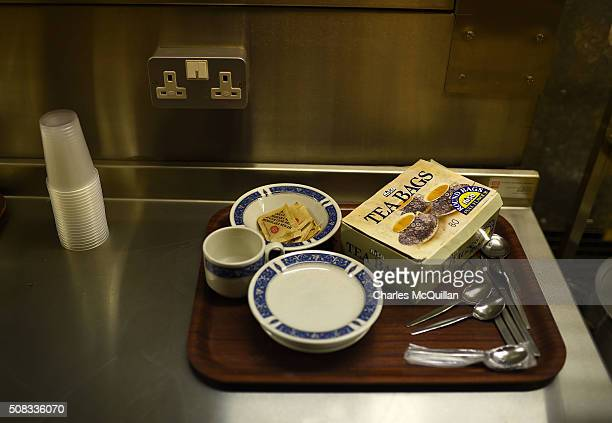 Teabags cups and saucers sit on a kitchen worktop at a nuclear bunker site on the Woodside Road industrial estate on February 4 2016 in Ballymena...