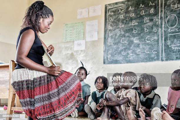 Teacher and kids in a classroom Kafue National Park primary school