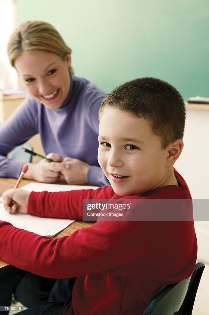 Teacher and student : Stockfoto