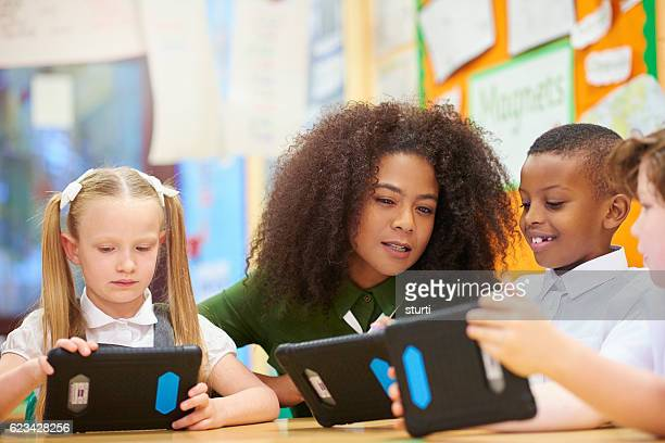 teacher and students learning digitally
