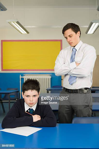Teacher annoyed at pupil