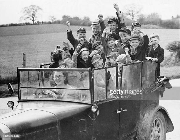 A teacher at Dingestow school drives some of her pupils back to their farms at the end of the school day The children are all evacuees from...