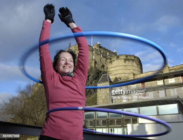 Teacher Fiona Blair from Edinburgh's Dance Base hosts a hulahooping class to celebrate the 1billion of Lottery funding that has gone to projects...