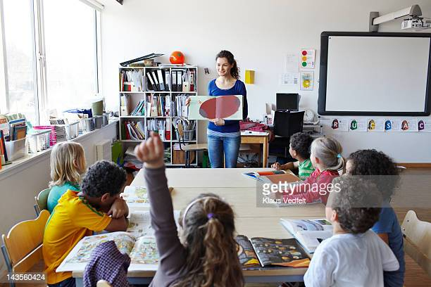 Teacher holding open book in front of kids class