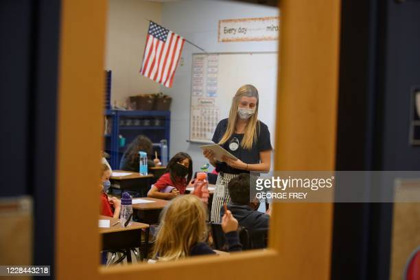 Teacher instructs students at Freedom Preparatory Academy on September 10, 2020 in Provo, Utah. - In person schooling with masks has started up in...