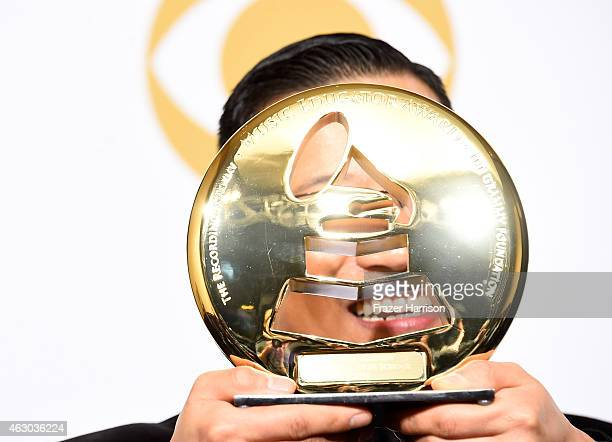 Teacher Jared Cassedy recipient of the Recording Academy and GRAMMY Foundation Music Educator Award poses in the press room during The 57th Annual...
