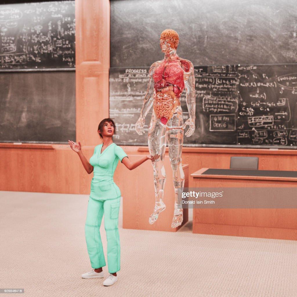 Teacher Looking At Organs Of Transparent Hologram Man Stock Photo