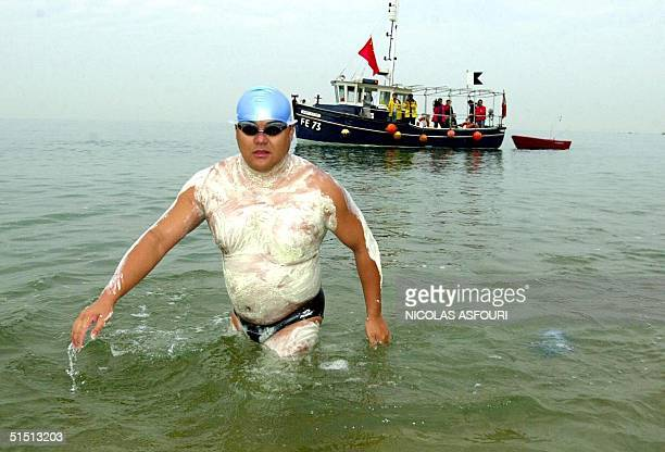 Teacher of physical education at Beijing university Zhang Jian 37 years old attempts 29 July 2001 to cross the English Channel from Dover in England...