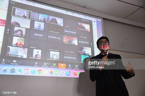A teacher of Rangsit University provides online classes as a preventive measure against the spread of Coronavirus in Bangkok Thailand government...