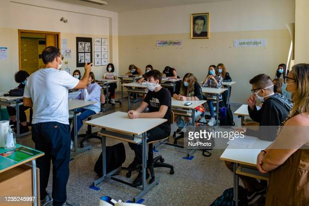 Teacher of the Higher Institute Mons. Antonio Bello in Molfetta during the lesson to the students on the first day of school in Molfetta, Italy on 14...