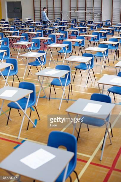 Teacher Preparing Exam Hall