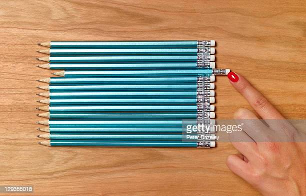 teacher preparing pencils for school day - 秩序 ストックフォトと画像