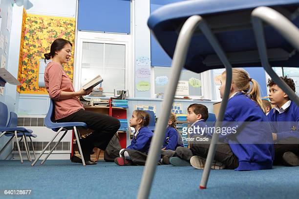 Teacher reading to children in class