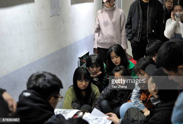 A teacher talking about minimum academic standard to Senior high school students at a training institute in Harbin China's Heilongjiang province on...
