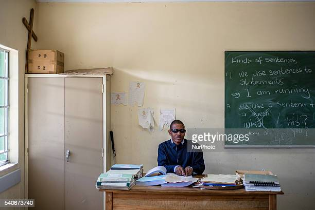 A teacher Tobias Mwaudikange has a lesson of natural science with the 4th grade of visually impaired children at Eluwa Special School in Ongwediva...