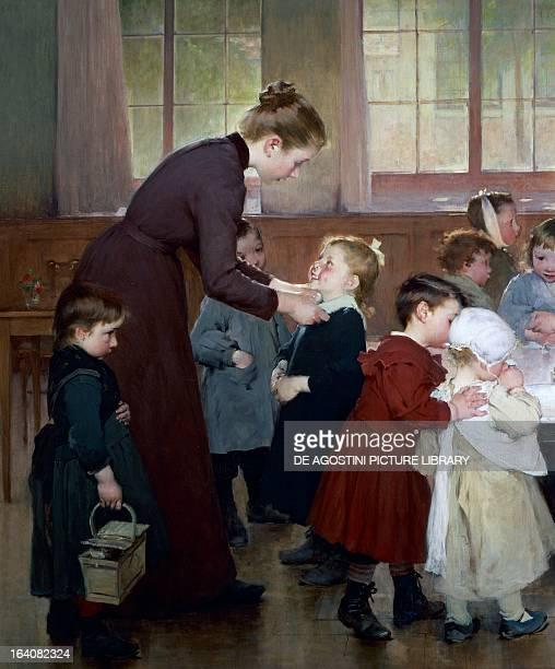 Teacher with a small school boy detail from Nursery School by Jean Geoffroy oil on canvas 185x235 cm