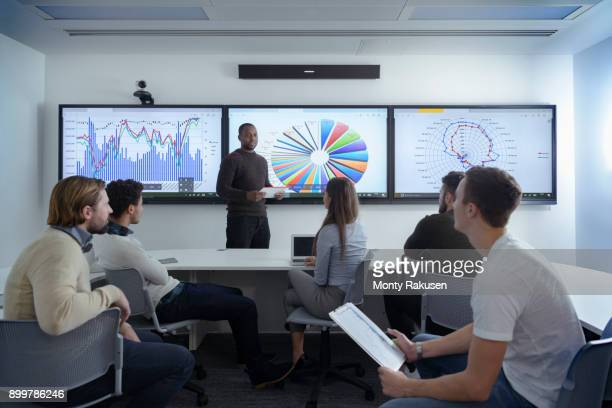 Teacher with class of apprentices studying graphical screen display in railway engineering facility