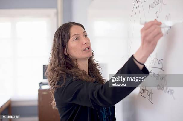 teacher writing on whiteboard - enseignante photos et images de collection