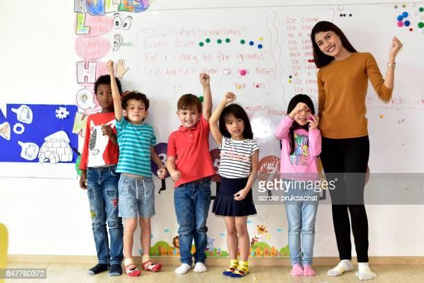 Teachers and children in an international school.