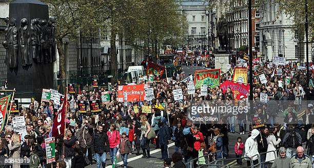 Teachers and civil servants march down Whitehall as they campaign for better pay during a one day strike on April 24 2008 in London England Hundreds...