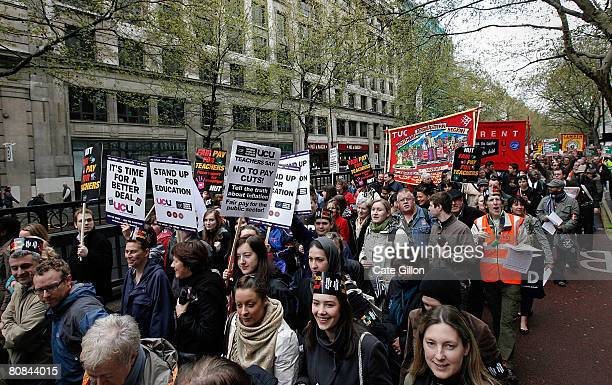 Teachers and civil servants march on Kingsway as they campaign for better pay during a one day strike on April 24 2008 in London England Hundreds of...