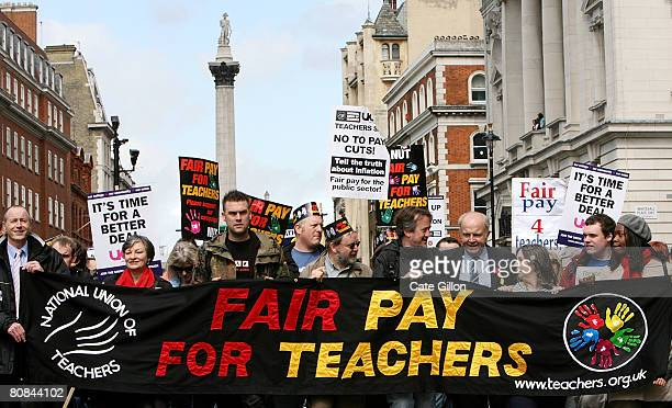 Teachers and civil servants march on Whitehall as they campaign for better pay during a one day strike on April 24 2008 in London England Hundreds of...