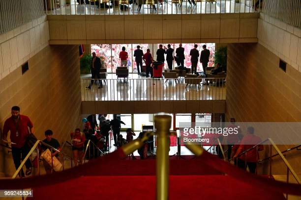 Teachers and supporters arrive at the North Carolina State Assembly on the first day of the state's legislative session during a 'March For Students...