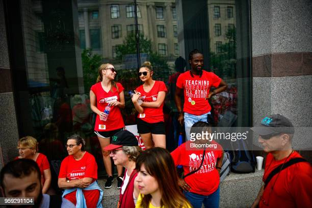 Teachers and supporters attend a 'March For Students And Rally For Respect' protest in Raleigh North Carolina US on Wednesday May 16 2018 At least 29...