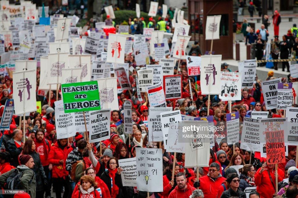 US-STRIKE-LABOR-TEACHERS : News Photo