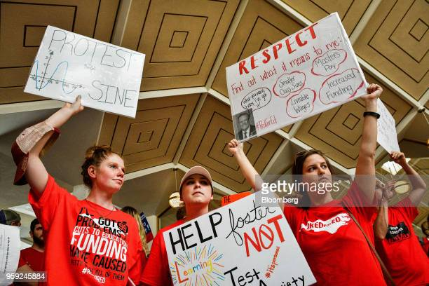 Teachers and supporters hold signs during a 'March For Students And Rally For Respect' protest at the North Carolina State Assembly on the first day...
