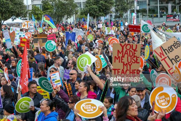 Teachers and their supporters march up Queen Street to a rally in Aotea Square on August 15 2018 in Auckland New Zealand New Zealand primary school...