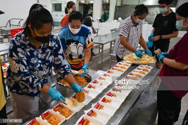 Teachers and volunteers wearing face masks as a preventive measure against the spread of the COVID19 novel coronavirus prepare food donations for...