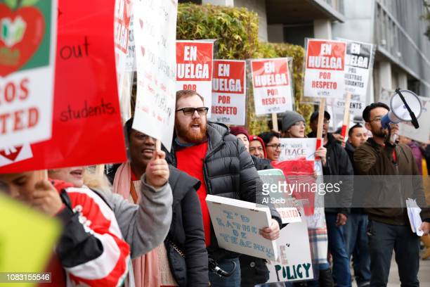 Teachers at The Accelerated Schools a community of public charter schools in South Los Angeles picket outside the school on second day of the Los...