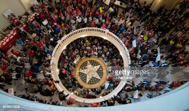 Teachers continue their strike at the state capitol on April 9 2018 in Oklahoma City Oklahoma Thousands of teachers and supporters continue to rally...