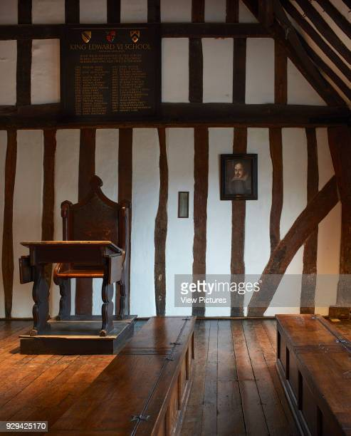 Teacher's desk and Shakespeare painting Shakespeare's Schoolroom StratforduponAvon United Kingdom Architect Wright Wright Architects LLP 2016