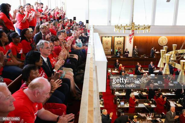 Teachers from across the state of North Carolina protest inside the State Capitol building in Raleigh on May 16 2018 Tens of thousands of educators...
