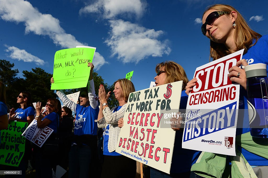 Jefferson County students, teachers and parents protest the Jeffco School boards' proposal for a curriculum review committee outside of the Jefferson County School district offices in Golden, CO. : News Photo