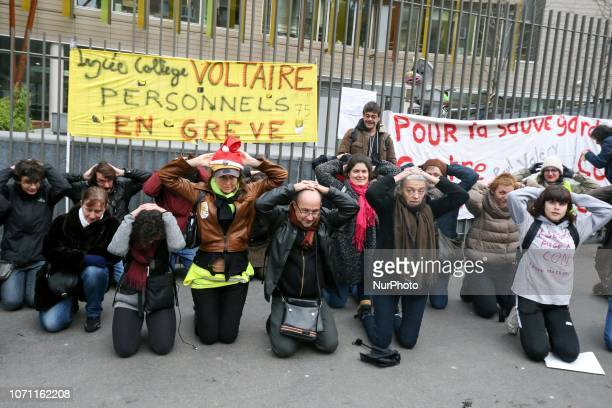 Teachers gathered in front of the Rectorate of Paris academy in Paris on December 10 2018 to protest against the new reform of Education Minister JM...