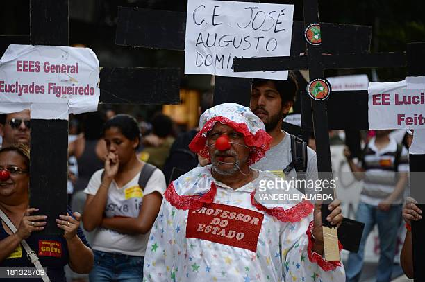 Teachers on strike protest against corruption in the government of Rio's Governor Sergio Cabral in Rio de Janeiro Brazil on September 20 2013 Since...