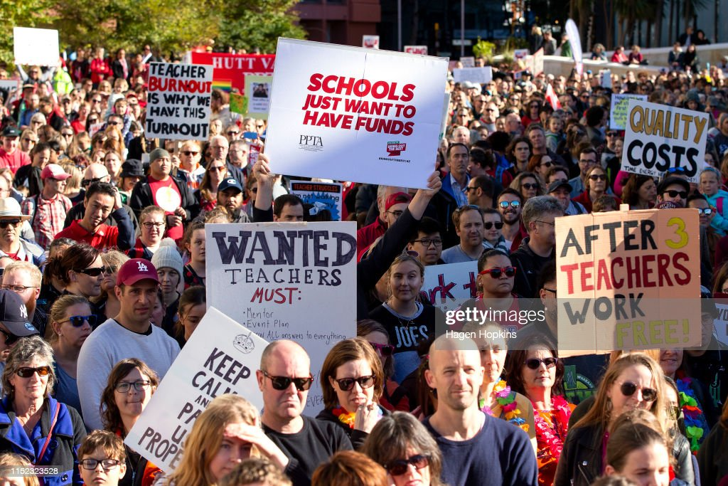 Thousands Of Teachers Strike Across New Zealand Over Pay And Work Conditions : News Photo