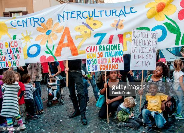 Teachers parents and students in front of the House of Representatives in Montecitorio to apply for the approval of the law on ius sole Approved by...