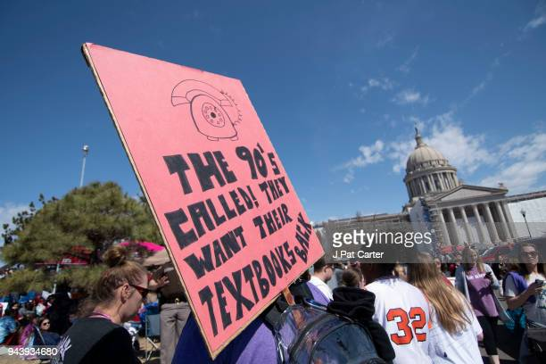 Teachers rally at the state capitol on April 9 2018 in Oklahoma City Oklahoma Thousands of teachers and supporters were expected to rally today at...
