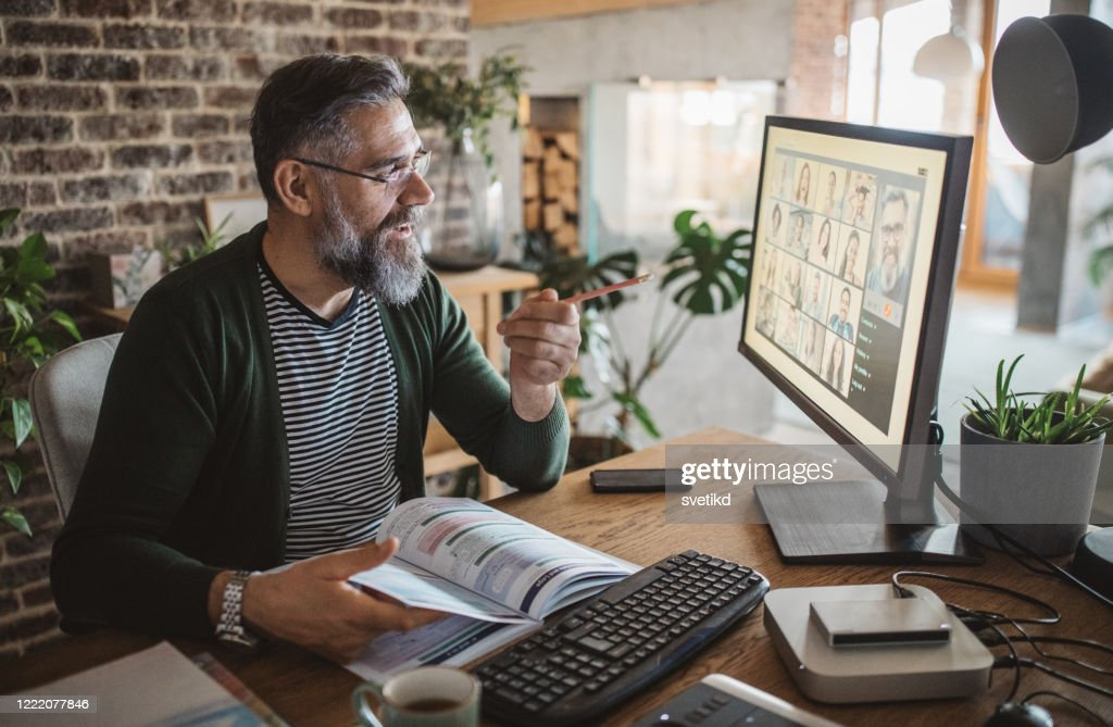 Teaching from home during isolation period : Stock Photo