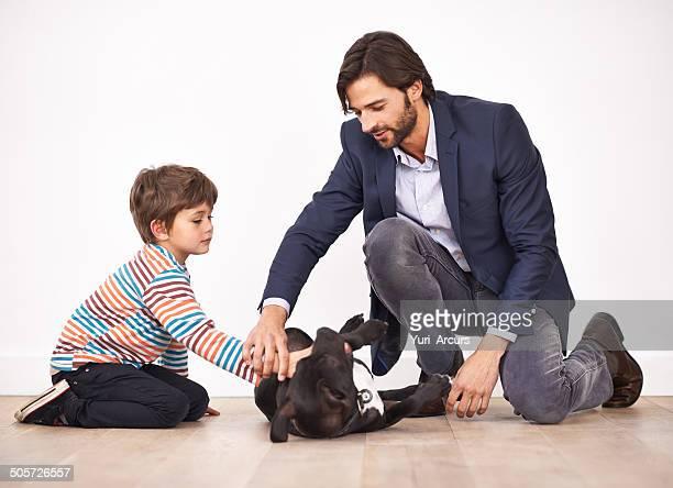 Unterricht seinem Sohn Respekt für Tiere