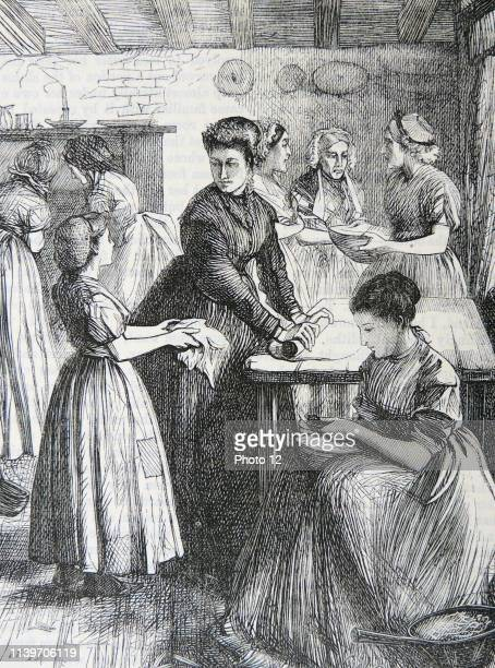 Teaching poor women of the East End of London to make the best use of their limited cooking materials and facilities Illustration by Francis Arthur...
