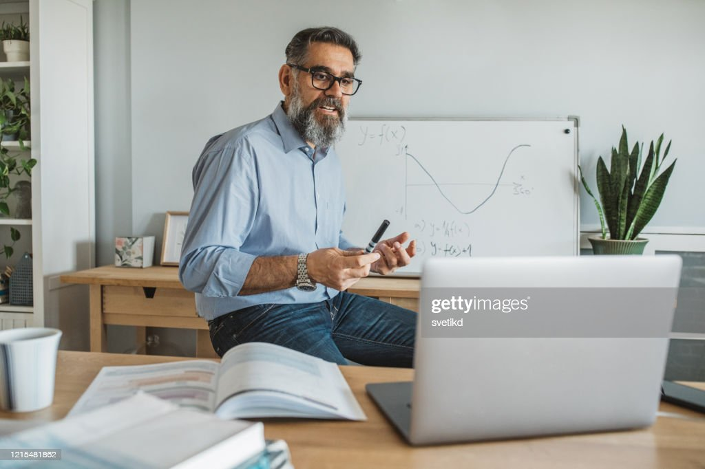 Teaching students during isolation period : Stock Photo