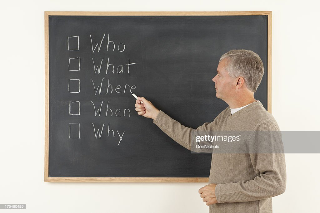 Teaching The Five Ws of Writing : Stock Photo