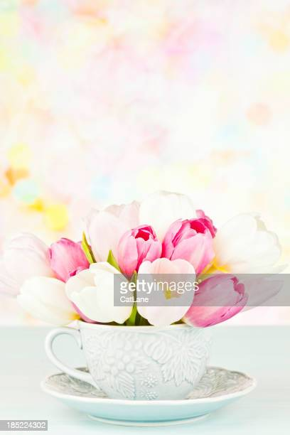 Teacup Filled with Tulips and Copyspace